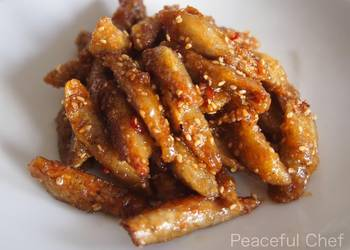 How to Cook Appetizing Vegetarian Fried Burdock Root with SweetSalty Sauce and Sesame Seeds