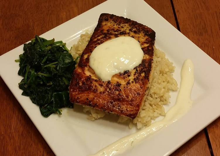 Pan seared lemon pepper salmon w/ citrus yogurt sauce