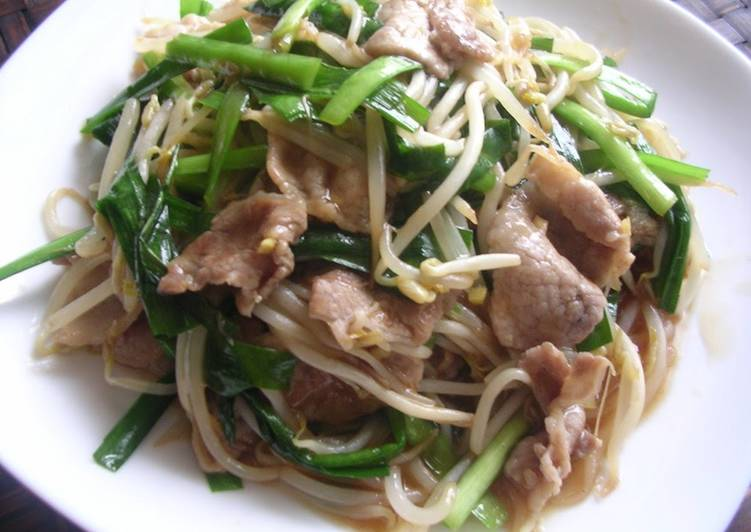 Going Green for Better Health By Consuming Superfoods Pork, Bean Sprout and Chinese Chive Stir-Fry