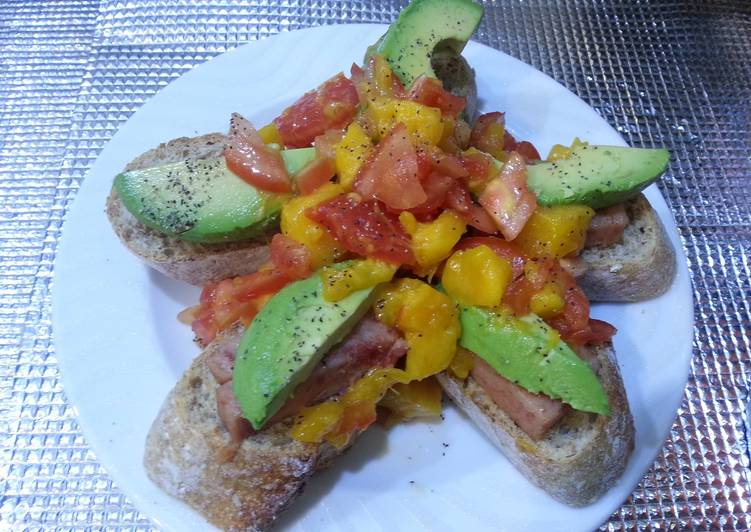 Recipe: Perfect Mango salsa avocado and spam tapa