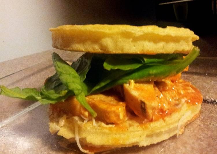 Waffle buffalo chicken sandwich