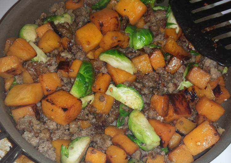 Easiest Way to Make Perfect Butternut squash, Brussel sprout sausage mixture