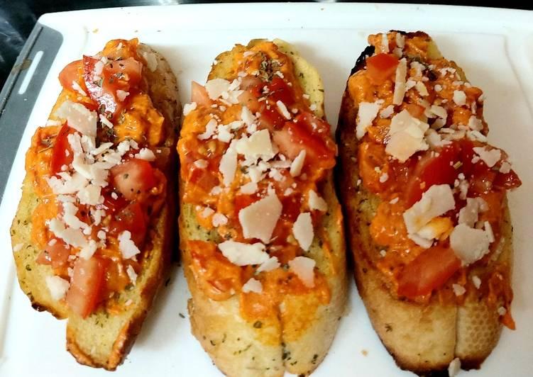 Steps to Make Award-winning My Garlic Tomato + Mascarpone Brushetta on Garlic Bread Toasted❤