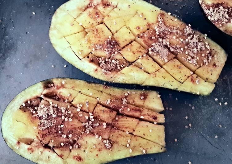 Ottolenghis Roasted Eggplant, w/Feta, Onion & Chopped Lemon
