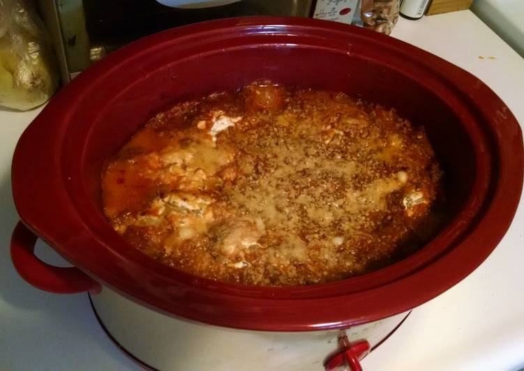 Easy deer meat crock-pot lasagna.