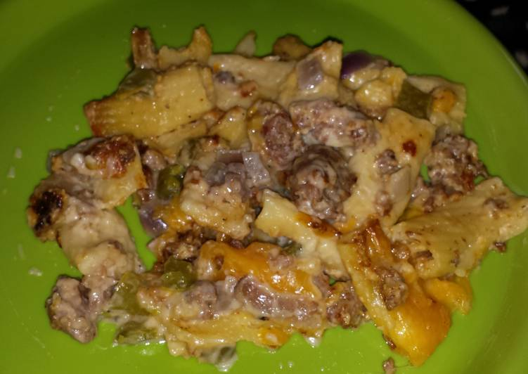 Quick Peppers and Sausage Rigatoni Alfredo