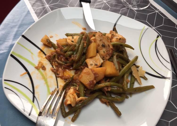 Pommes de terre haricots vert et poulet
