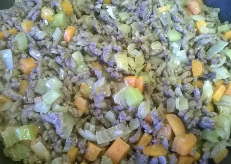 Three Way Minced Beef with mirepoix.