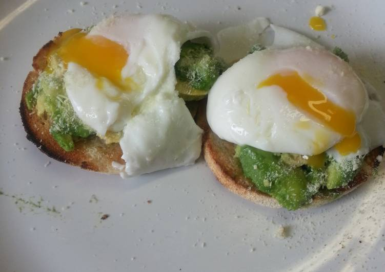 Poached eggs and avocado on muffins