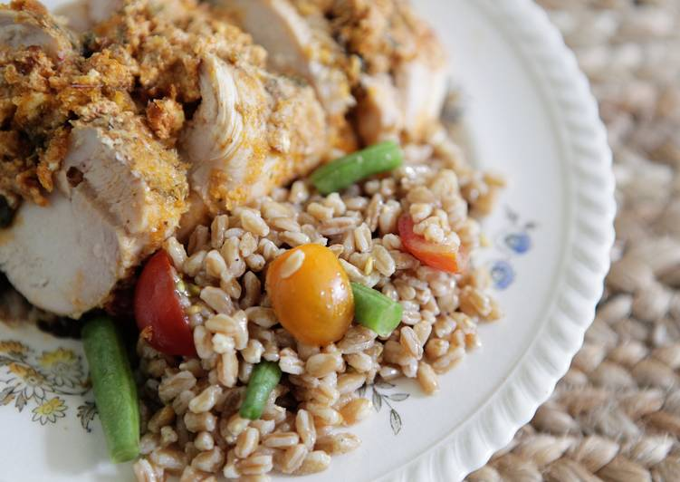 Recipe: Delicious Chicken Breasts Stuffed with Herbed Goat Cheese and Piccolo Farroto with Tomatoes and Romano Bean Salad