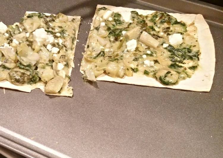 Steps to Make Super Quick Homemade Cheating Spinach Artichoke Flatbread
