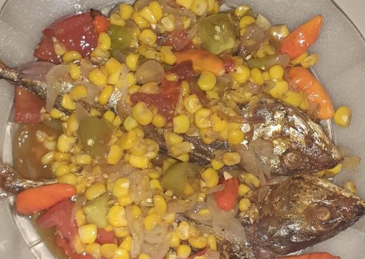 Tumis ikan peda + jagung manis