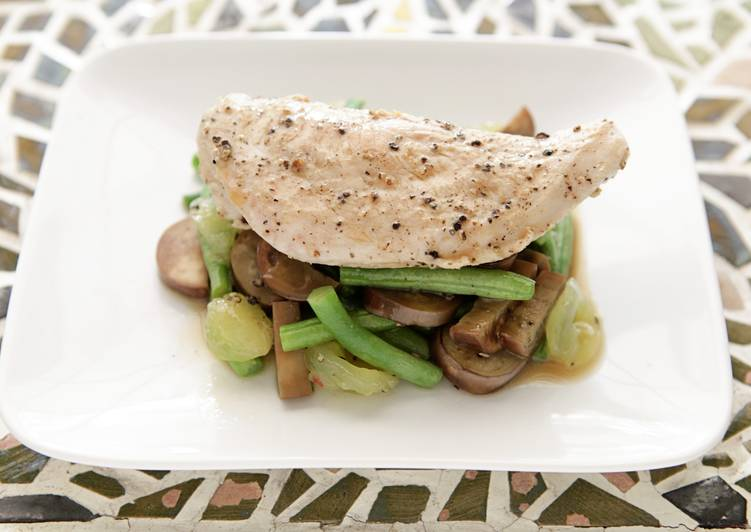 Recipe: Yummy Pan Seared Chicken with Green Bean, Japanese Eggplant, and Muscadine Sauté