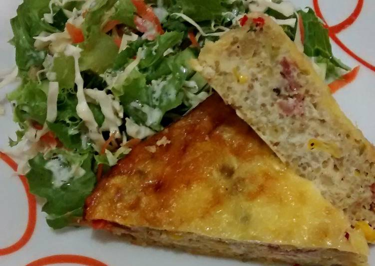 Crustless Quinoa, Vegetables and Bacon Quiche