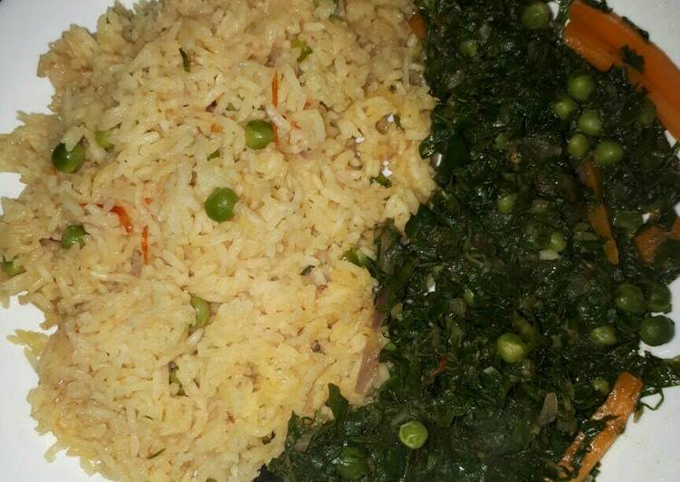 Your State Of Health Can Be Impacted By The Foods You Decide To Eat Vegetable rice served with spinach and peas