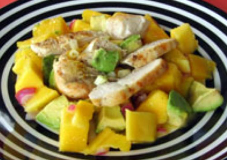 Chicken, mango and avocado salad