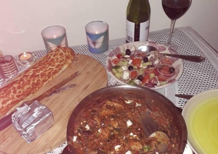 Greek chicken, spinach & fete