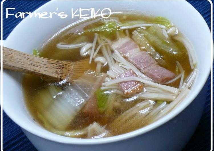 How to Prepare Super Quick Homemade [Farmhouse Recipe] Chinese Cabbage and Enoki Mushroom Soup