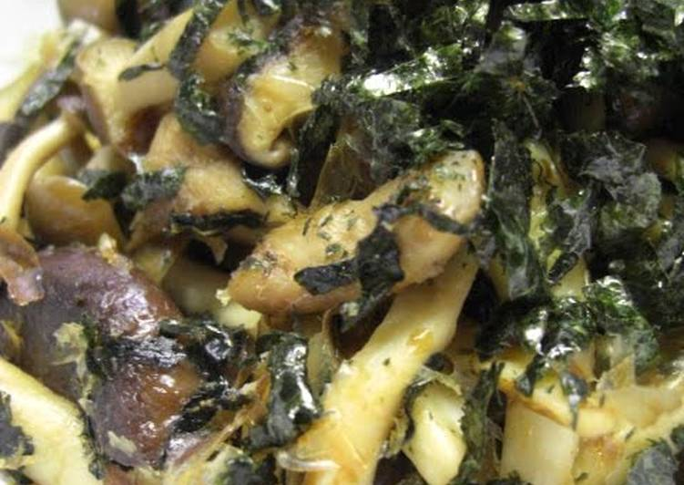 Simple Way to Make Award-winning Stir-fried Mushrooms with Nori Seaweed and Bonito Flakes
