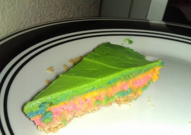 Easy no bake rainbow cheesecake