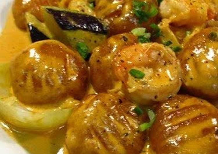 Kabocha Squash Gnocchi Shrimp and Tomato Cream