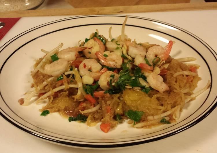 Shrimp Pad Thai on Spaghetti Squash
