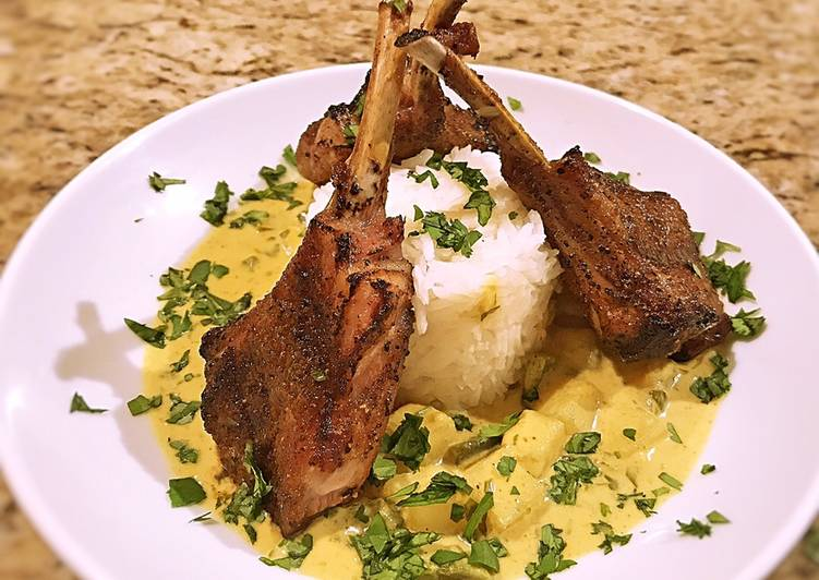 Recipe: Appetizing Potato in yellow curry sauce with grilled lamp chops