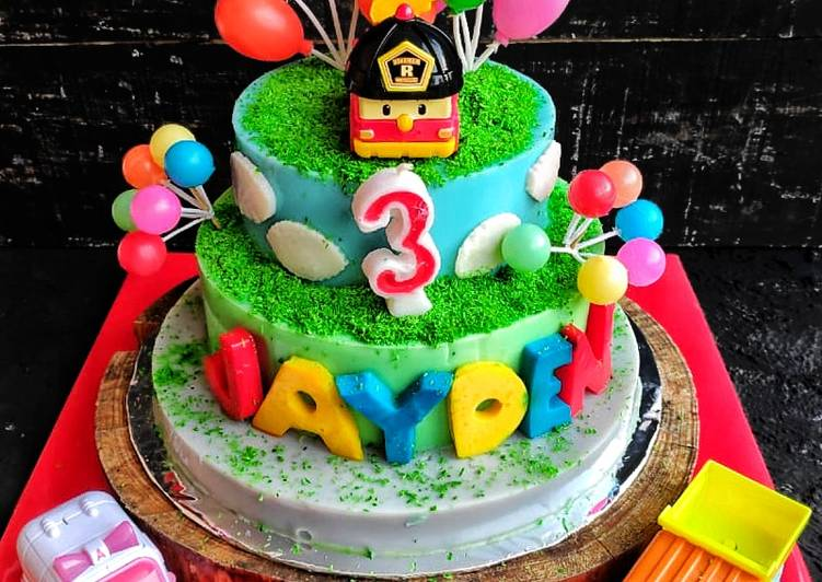 Robocar Poli Birthday Pudding