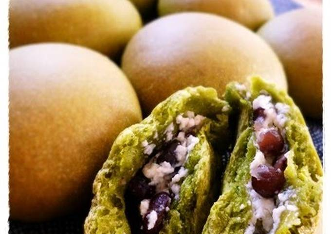 Green Tea Buns with Cream Cheese and Dainagon Adzuki Beans