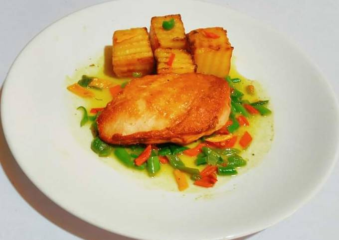 Grilled Chicken and Potato Fondant