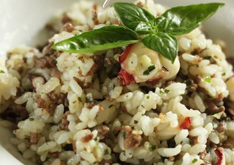 Ground Beef & Octopus Basil Fried Rice