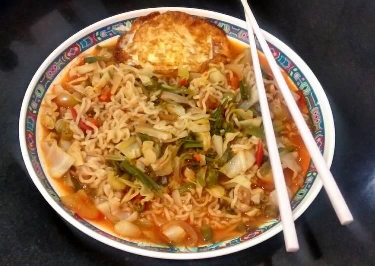 Steps to Prepare Homemade Soupy veg noodles