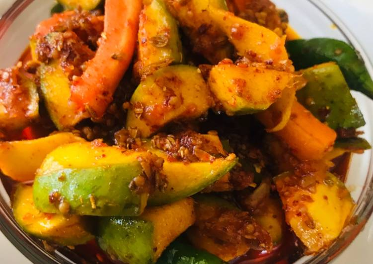 15 Minute Recipe of Refreshing Whosayna's Mango and Carrot Pickle