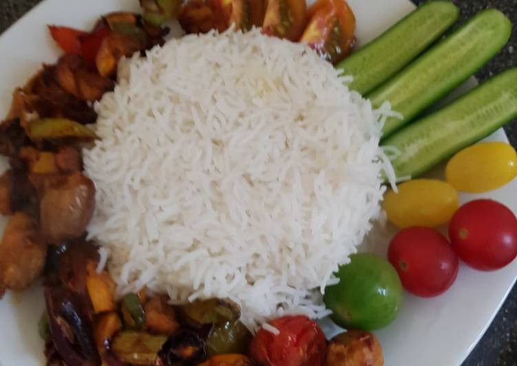 Chicken, veg grill with white rice