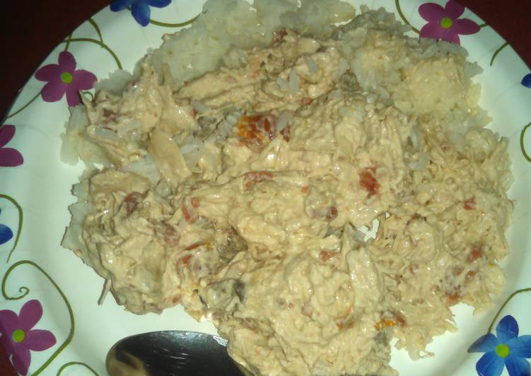 Shredded chicken and rice