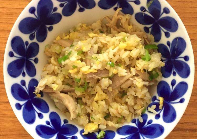 ゆで鶏炒飯 Fried Rice w boiled chicken and baby onion