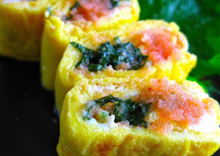 Recipe of Quick For Adult Bentos: Mentaiko Tamagoyaki (Rolled Omelette)
