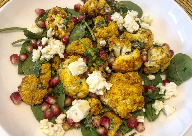 Recipe: Tasty Turmeric roasted cauliflower salad with feta and zhoug style dressing