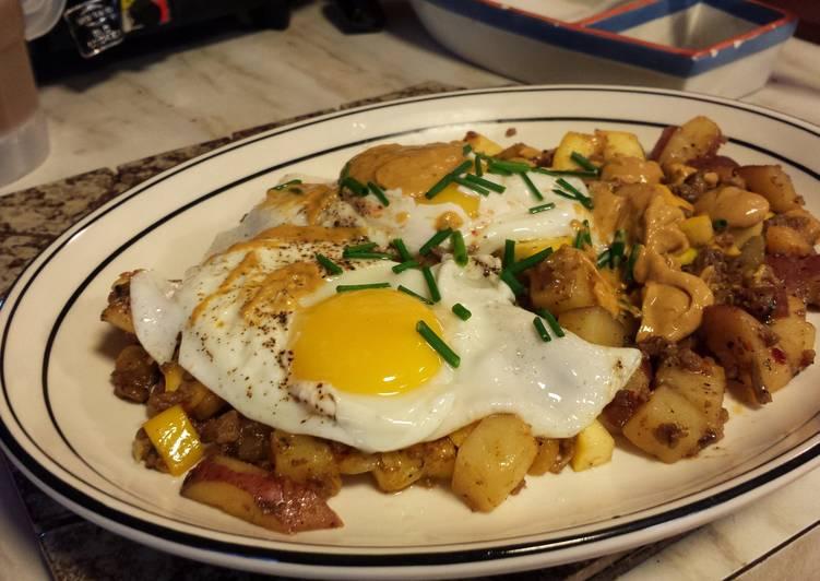 Chorizo Hash with Over Easy Eggs