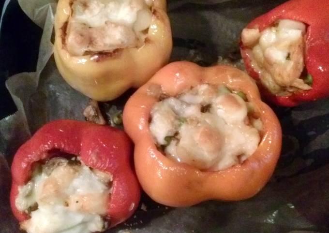 Shrimp,Scallop and mushroom stuffed Peppers