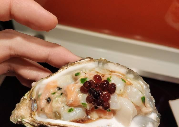 Comment faire Cuire Délicieuse Tartare de saumon, d'huîtres & de Saint Jacques