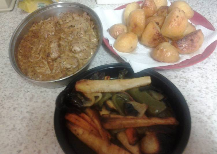 Tenderloin Pork in Mustard Sauce and Roast Veg