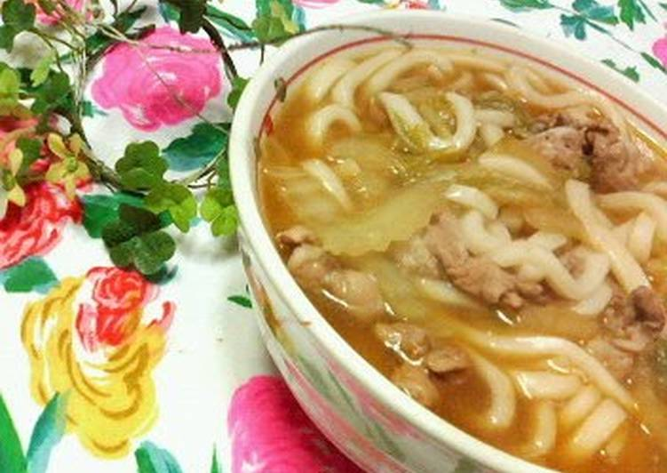 Recipe of Speedy Easy Kimchi Udon Noodles with Chinese Cabbage and Pork