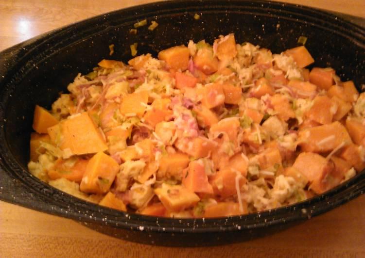 Butternut squash casserole with PLT