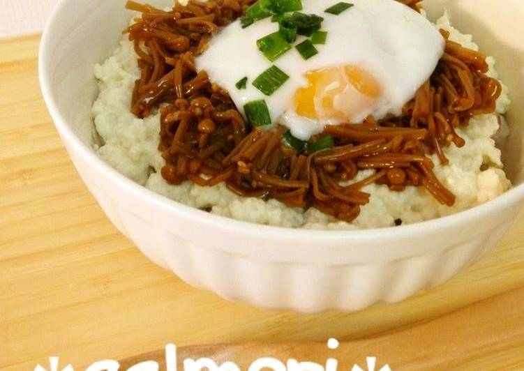 Easy Tofu and Nametake Mushrooms Rice Bowl with Soft-Poached Egg