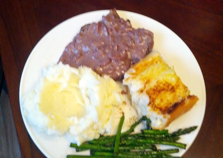 Simple Way to Prepare Ultimate Venison steaks with red wine blue cheese sauce