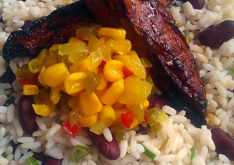 Vickys Jerk Chicken w Jamaican-Style Rice & Peas, GF DF EF SF NF