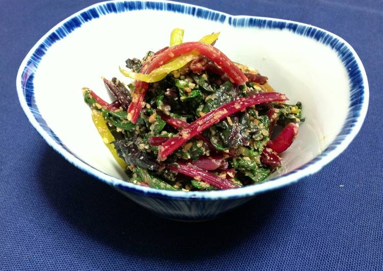 Grandmother's Dinner Easy Fall Swiss Chard With Sesame Sauce