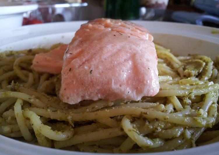 Salmon On Pesto-Spaghetti Bed