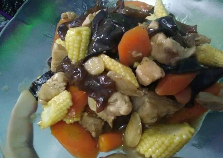 Tumis ayam jamur kuping jagung wortel with saos tiram